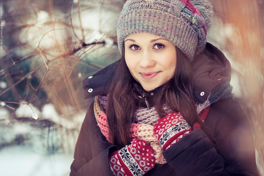 Портретная фотосессия. Зимняя фотосъемка. Красивые фотографии. Фотограф Катрин Белоцерковская.