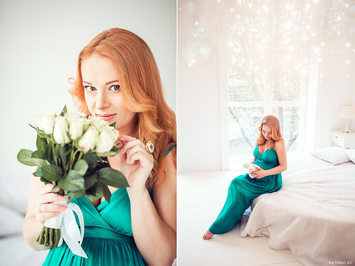 Нежная фотосессия беременности в студии. Фотограф Катрин Белоцерковская. kateblc.ru