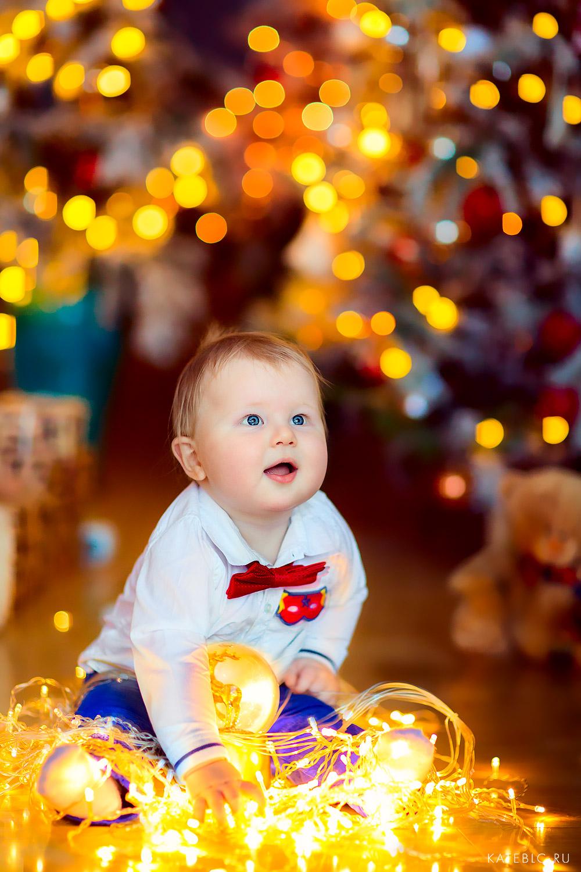 Детская новогодняя фотосессия для малышей до года. Фотограф Катрин Белоцерковская