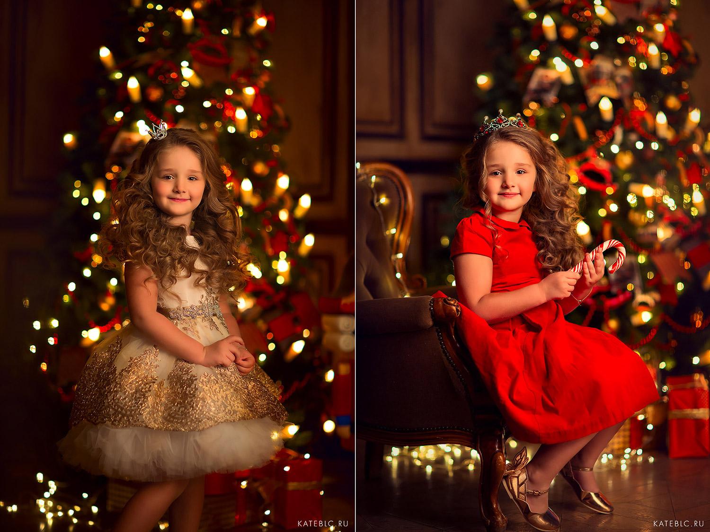 Девочка у елки в пышном платье. Детская фотосессия в студии на новый год