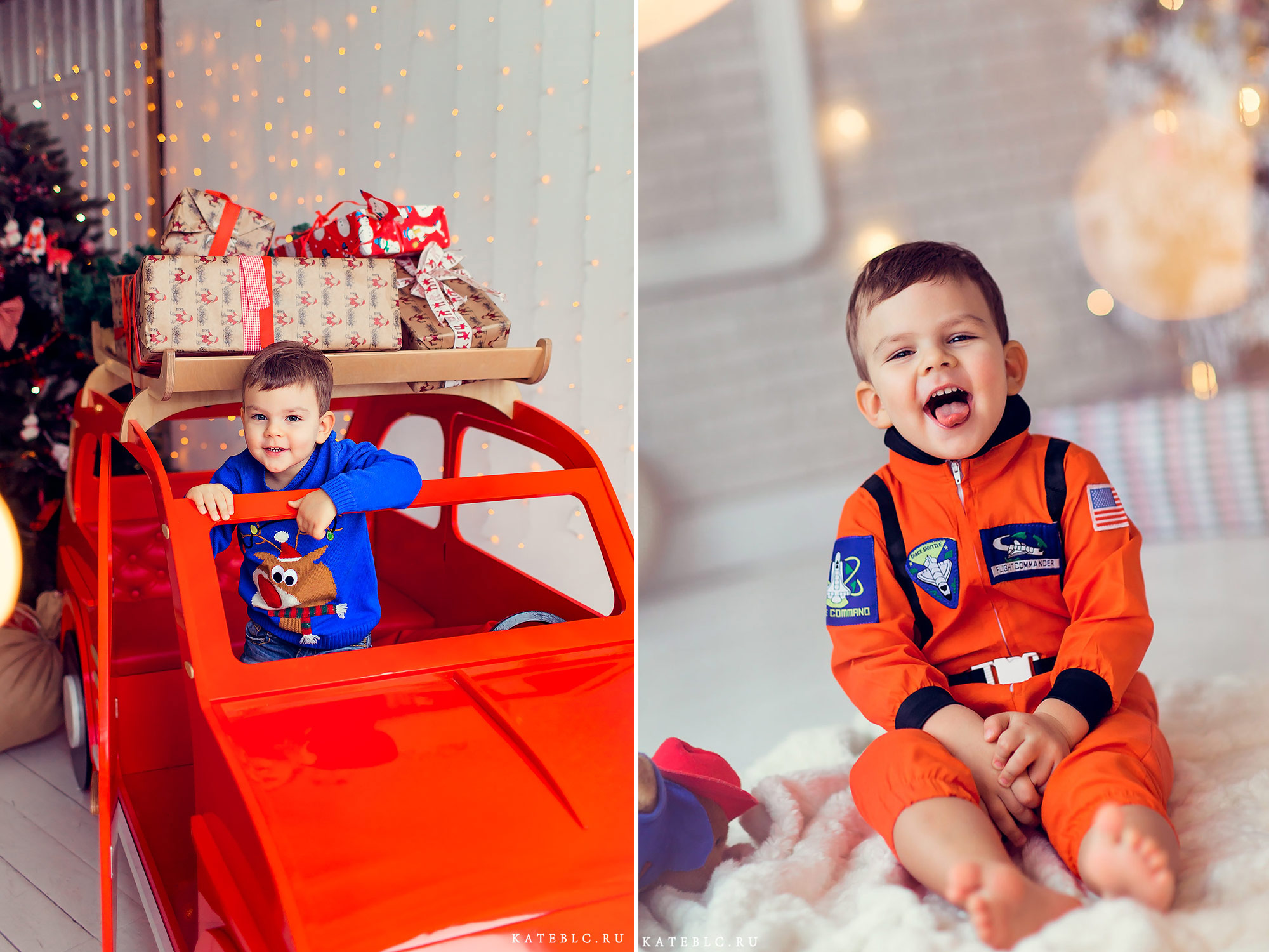 Новогодние фотографии мальчика в светлой студии. Детский фотограф в Москве.