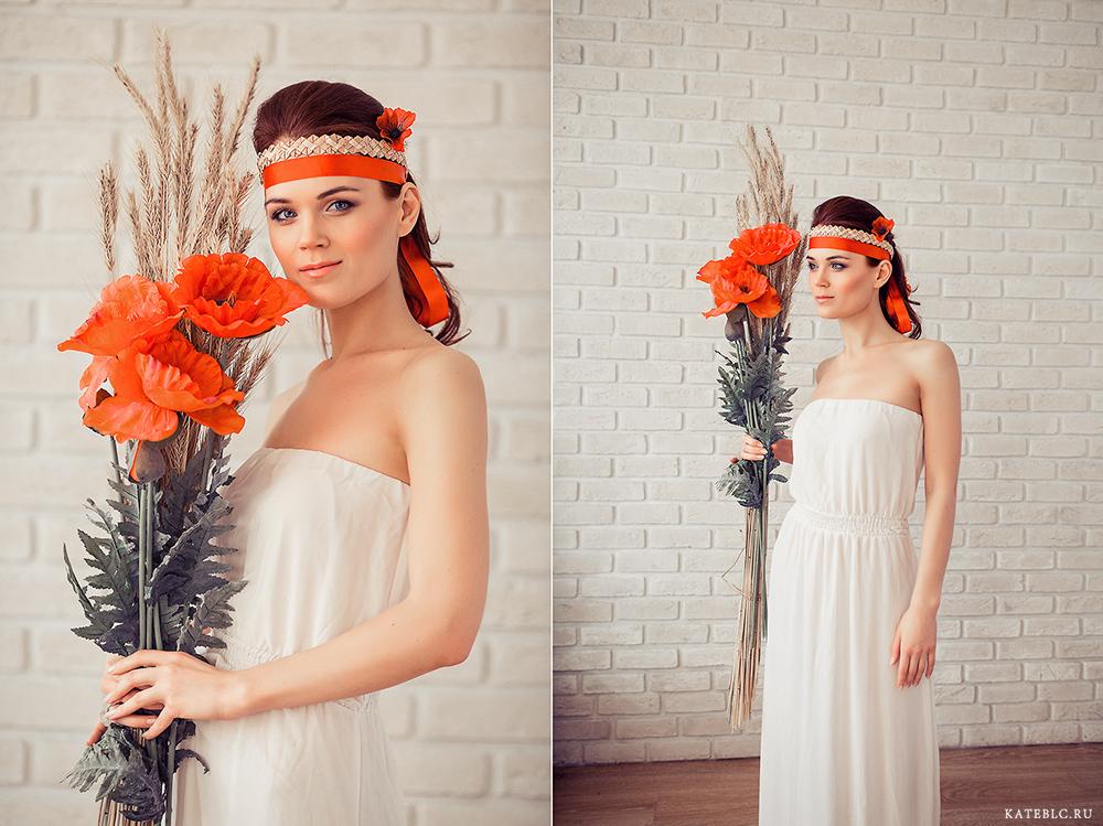 Девушка с цветами в фотостудии. Фотосессия для девушки в студии. Лучший портретный фотограф в Москве