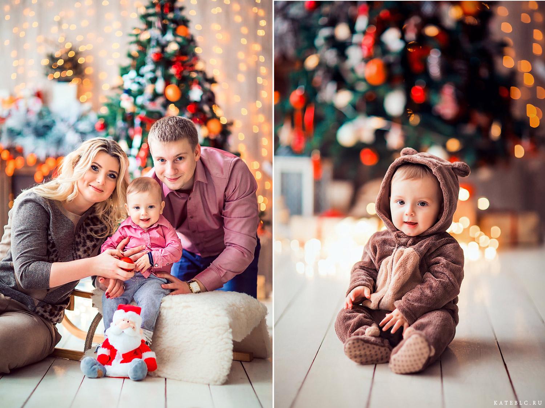 Семейная фотосессия под елкой на новый год