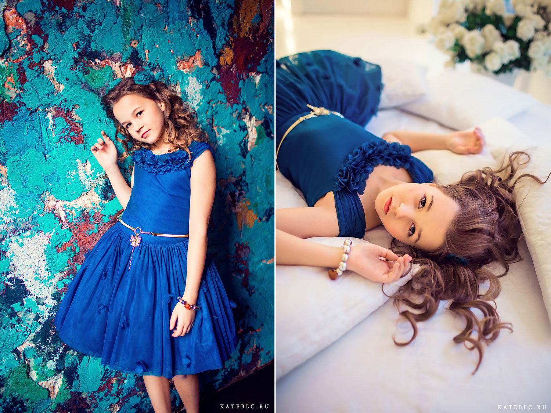 Портрет девочки в синем платье. Детский фотограф Катрин Белоцерковская. kateblc