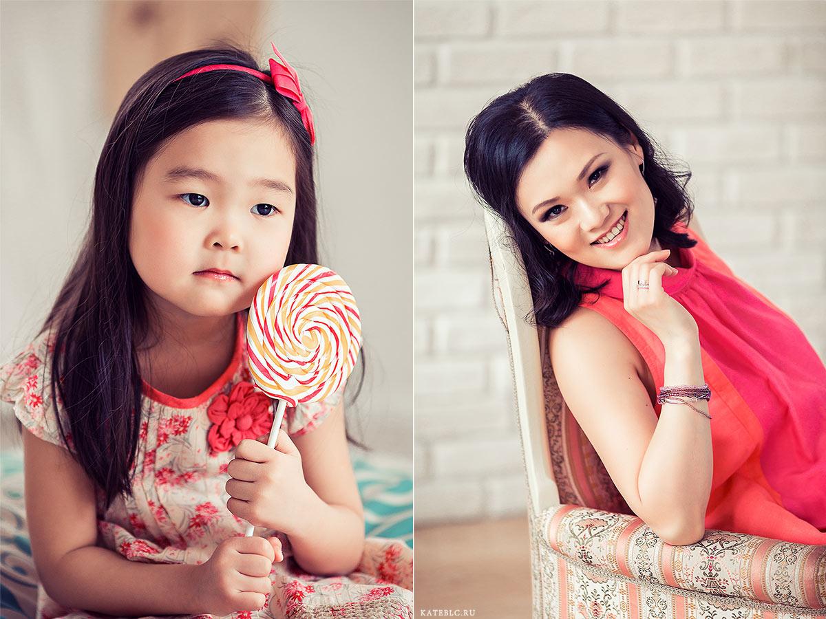 Портрет мамы и дочки. Семейные фотосессии в студии