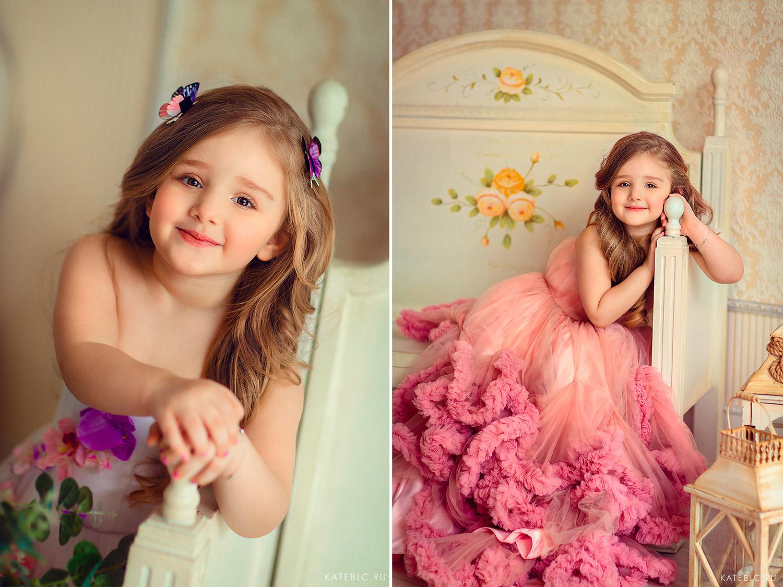 Красивое розовое платье для девочки на фотосессию. Детский фотограф в Москве Катрин Белоцерковская