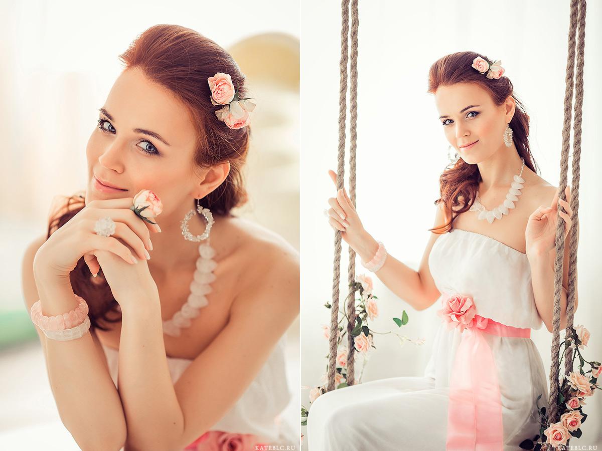 Портрет девушки на качелях. Фотограф Катрин Белоцерковская kateblc.ru
