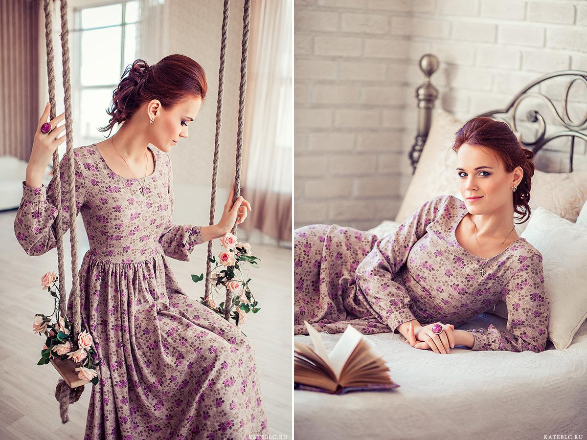 Девушка на качелях, девушка в фотостудии на постели. Фотограф Катрин Белоцерковская kateblc.ru