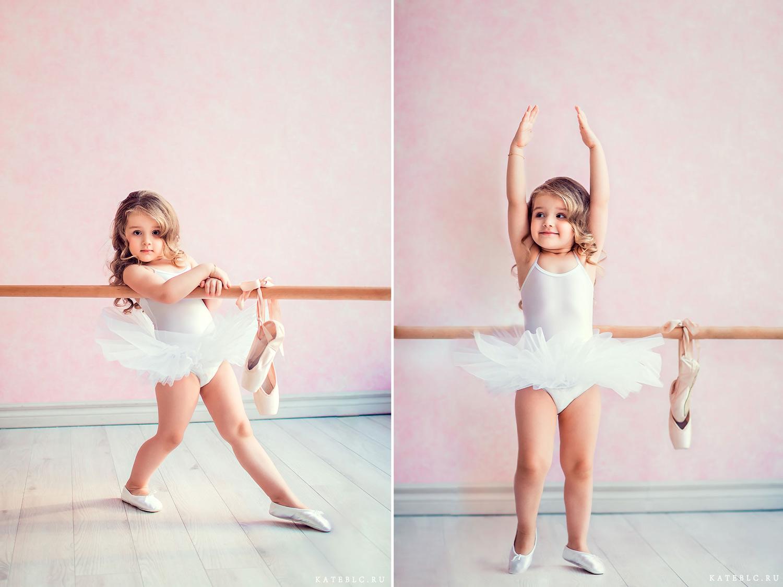 нежная фотосессия в студии в образе балерины для детей