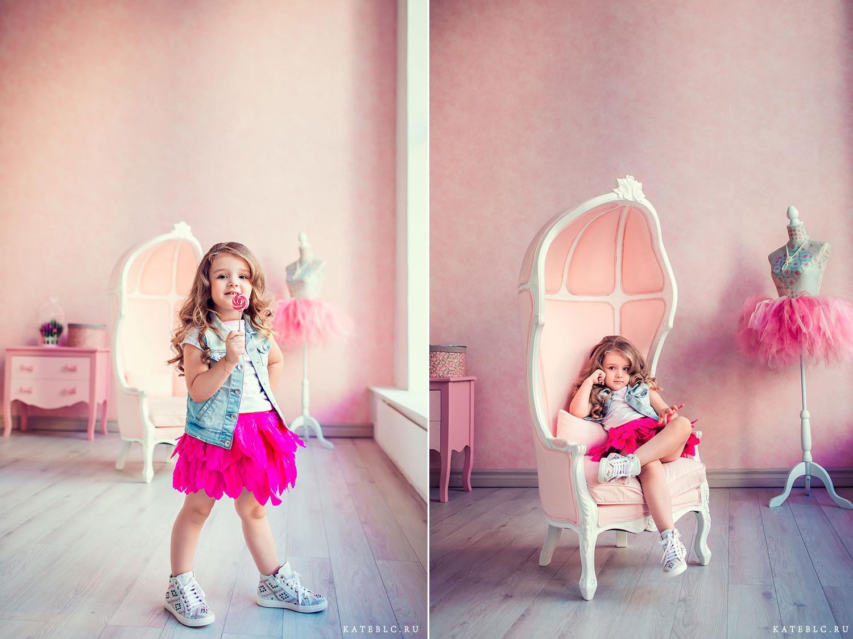 яркая фотосъемка для девочки в фотостудии. Детская фотосессия