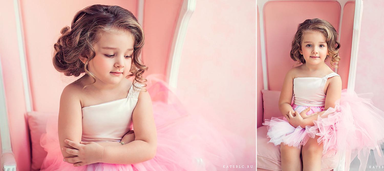 нежная фотосессия для девочки в студии кросс фото. Фотограф Катрин Белоцерковская. kateblc.ru