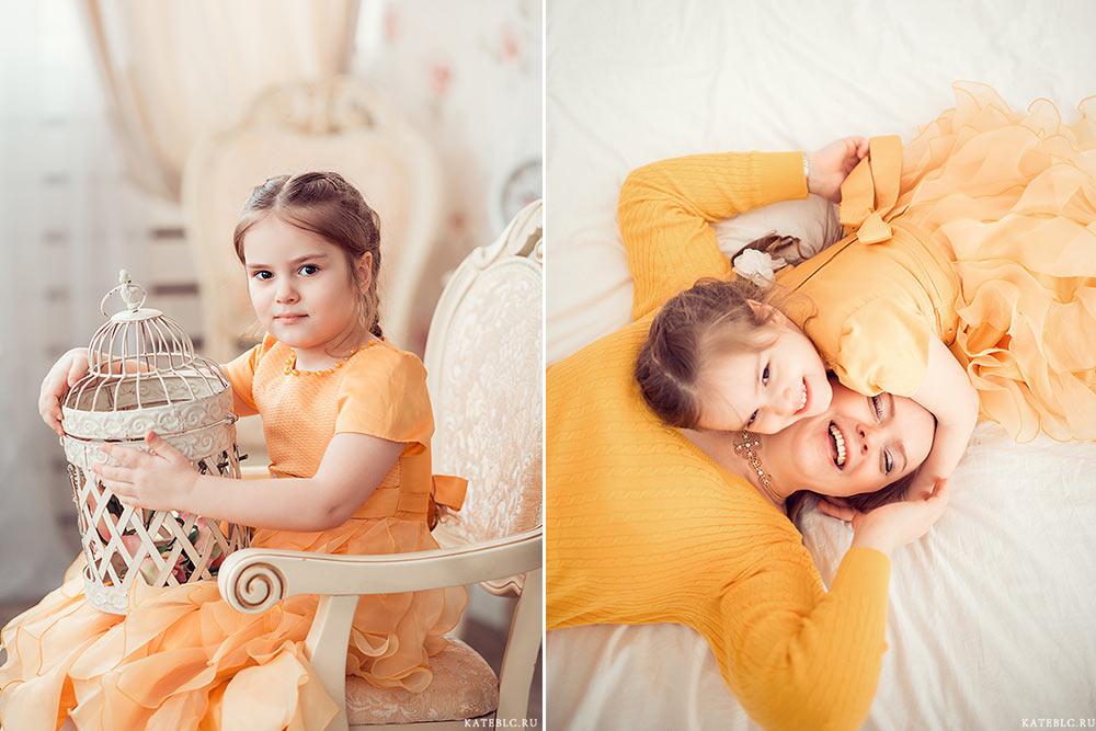 Девочка и мама в фотостудии. Детская фотосъемка. Семейный фотограф в Москве