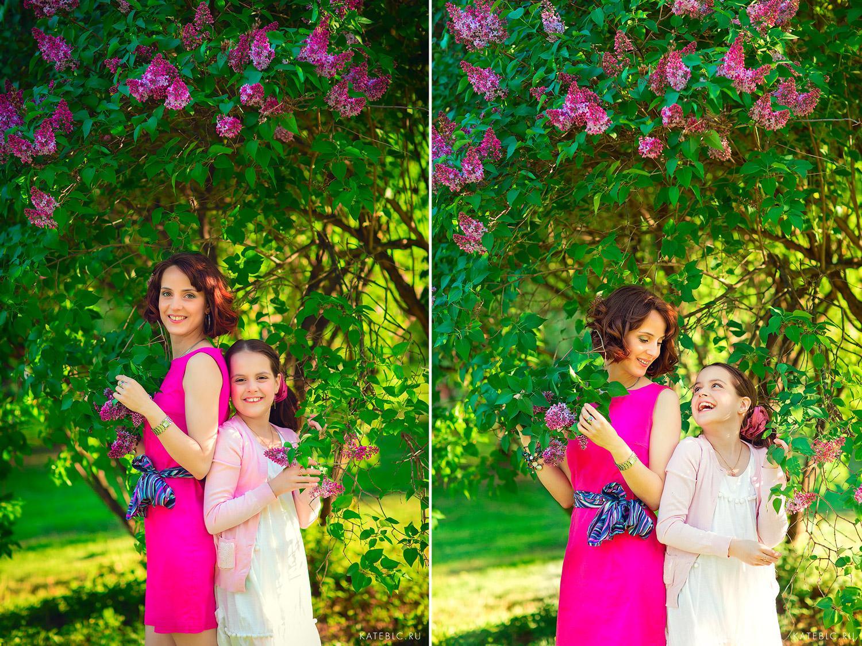 Мама и дочка на фоне сирени. Детский фотограф Катрин Белоцерковская