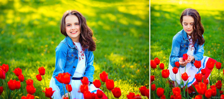 Яркая фотосессия в коломенском. Девочка на фоне красных тюльпанов