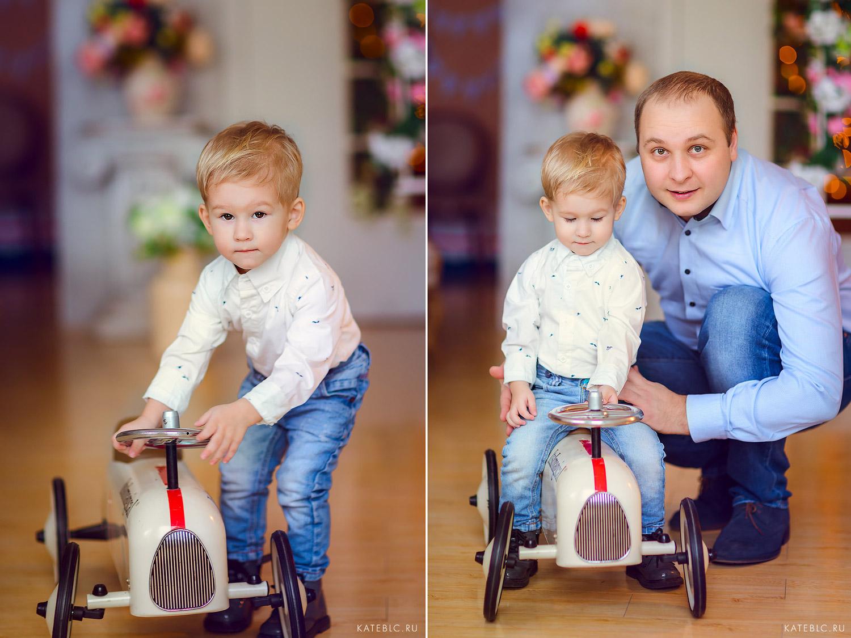Папа и сын - семейная фотосессия в студии. Детский и Семейный фотограф Катрин Белоцерковская