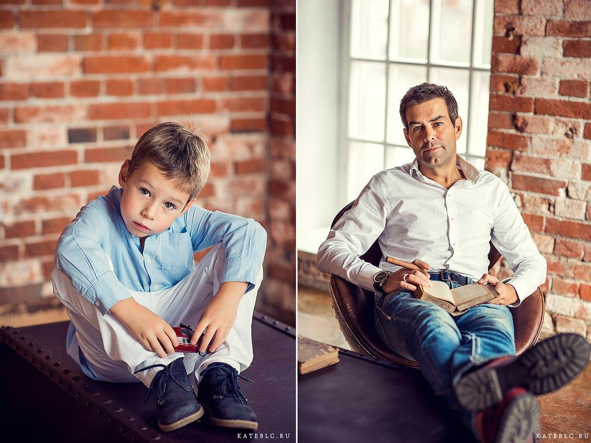 Портретная фотосъемка в студии на фоне красной кирпичной стены. Фотограф в Москве Катрин Белоцерковская. kateblc.ru