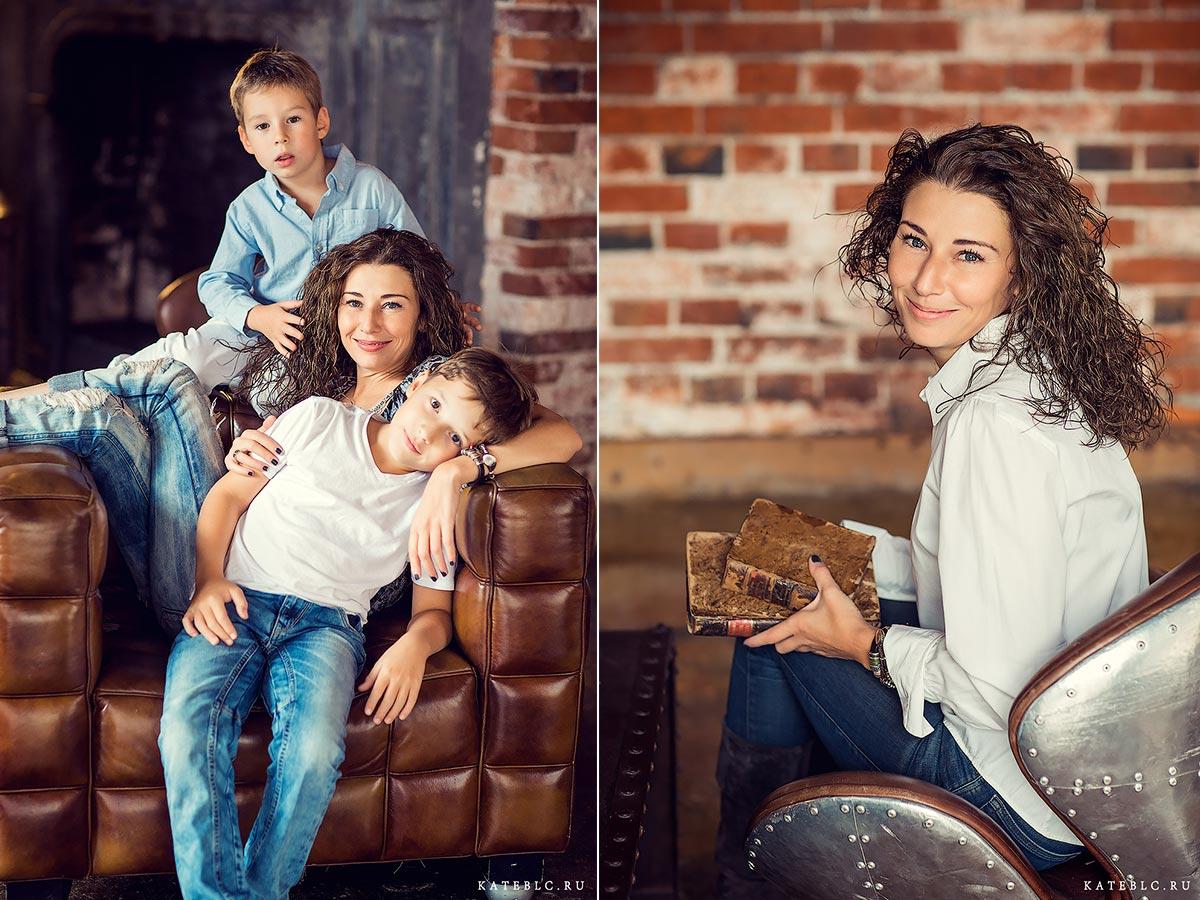 Фотосессия для семьи в студии loft. Детский фотограф Москва