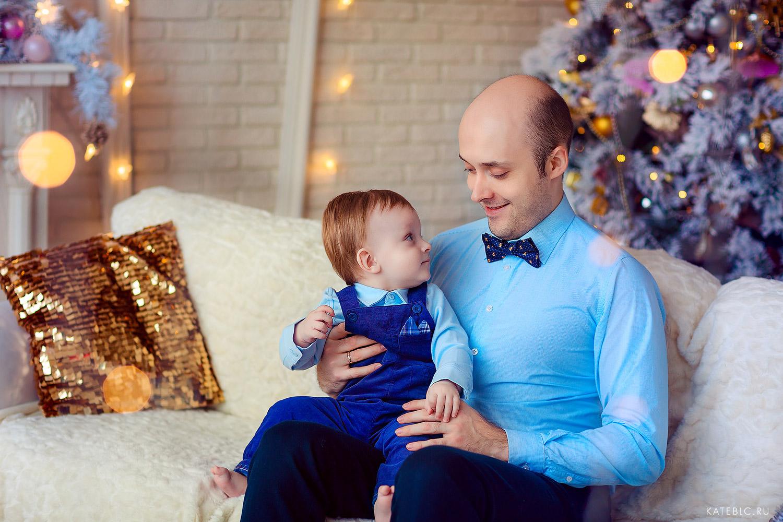 Папа и сын -  фотосессия в студии