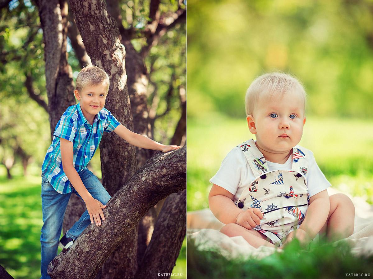 Портреты мальчиков в парке. На траве, на дереве. Детский фотограф Москва