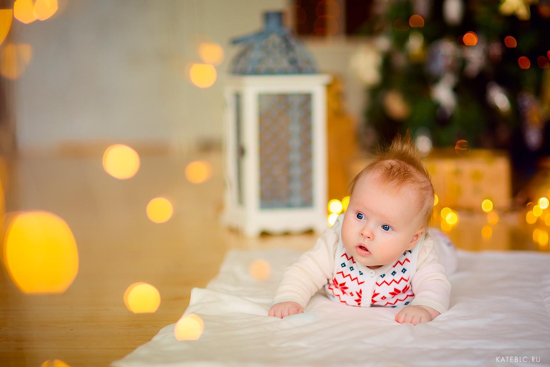 малыш на пледе у елки