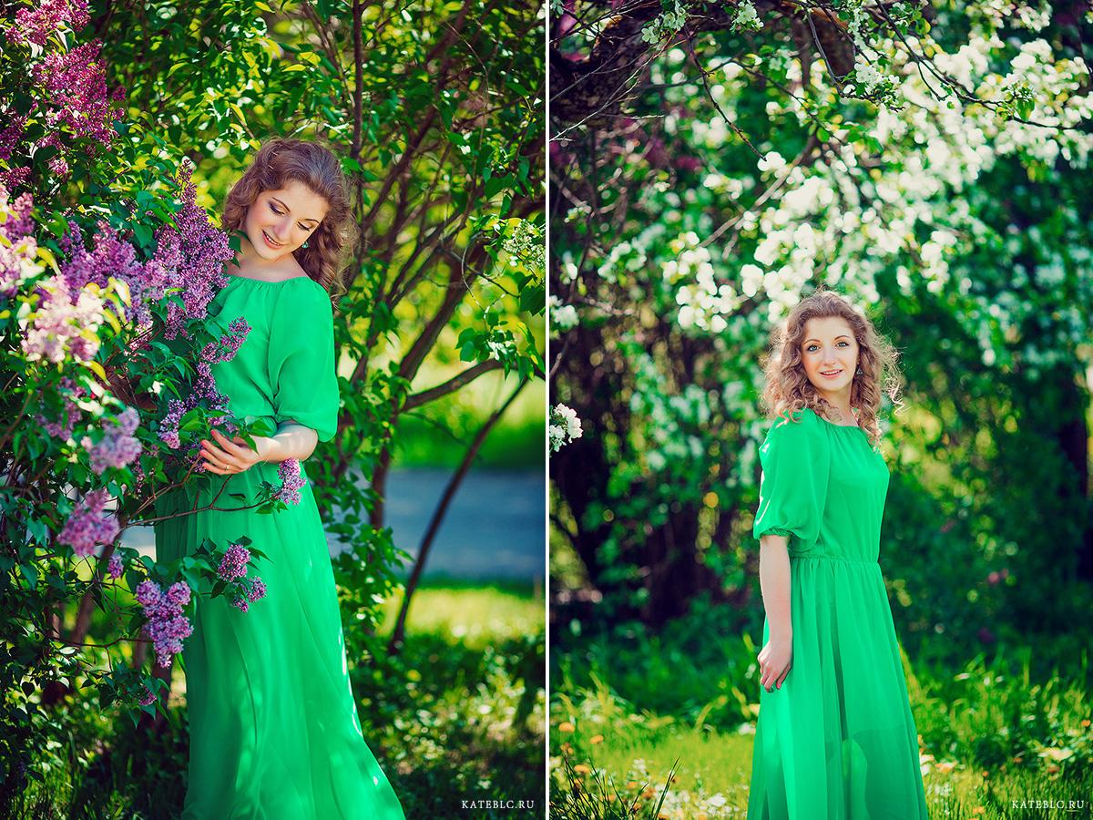 Девушка в сирени. Портрет девушки в цветущем парке